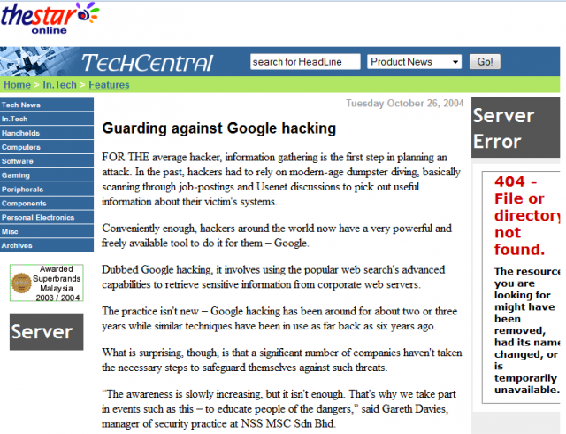 Google Hacking - The Star