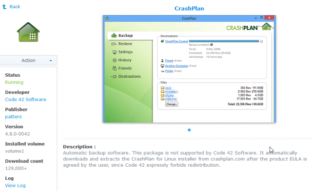 CrashPlan running on Synology